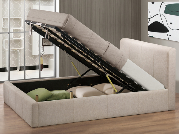 Brooklyn Wheat Fabric Ottoman Storage Bed