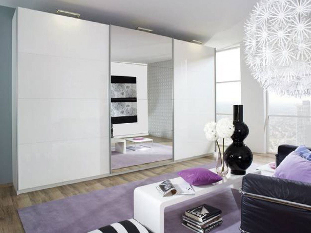 Beluga Plus White Gloss & Mirrored Sliding Wardrobe