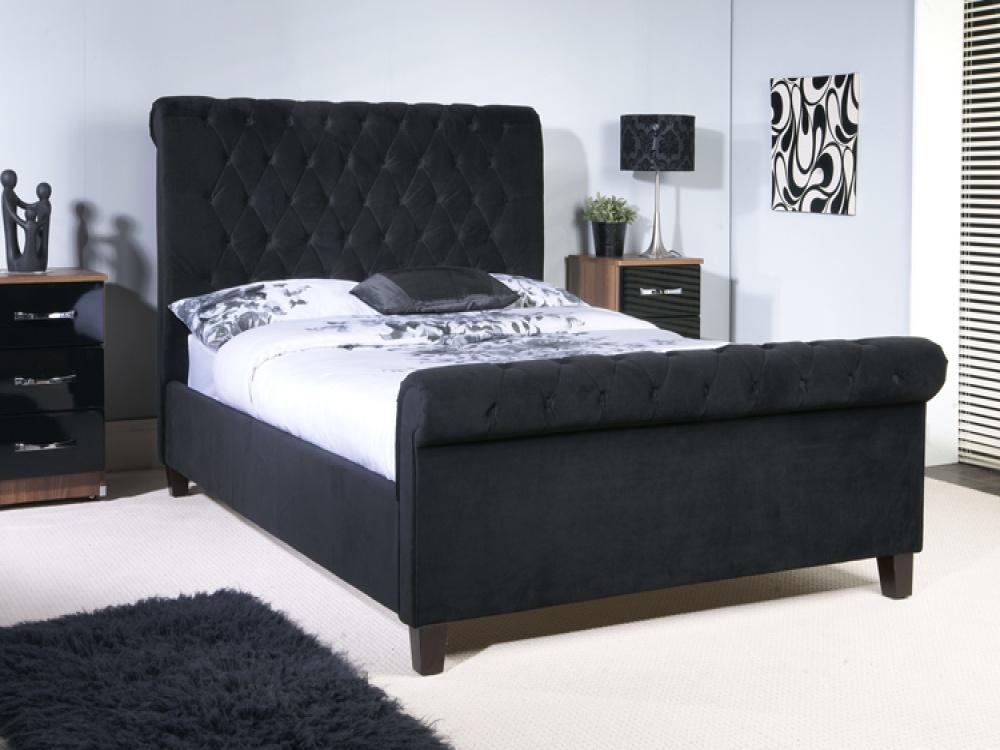 Orbit Black Velvet Bed With Scroll Back Head & Footboard