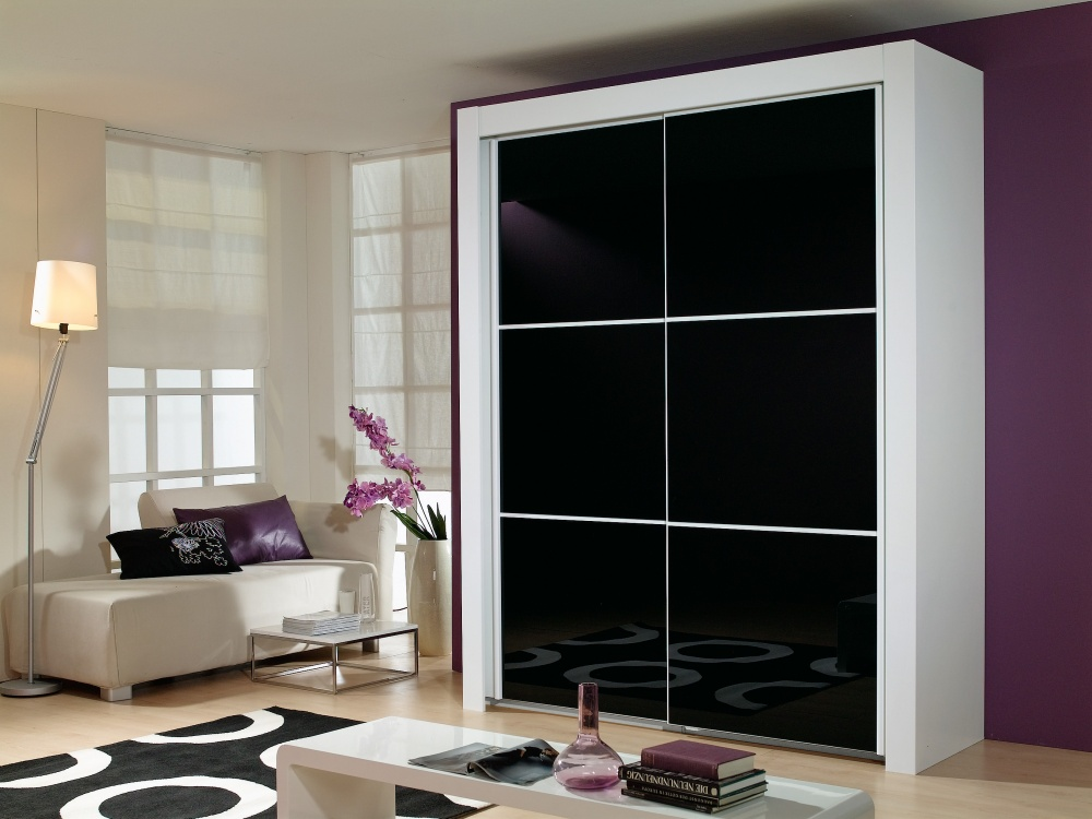Triton Alpine Black Glass 2 Door Wardrobe