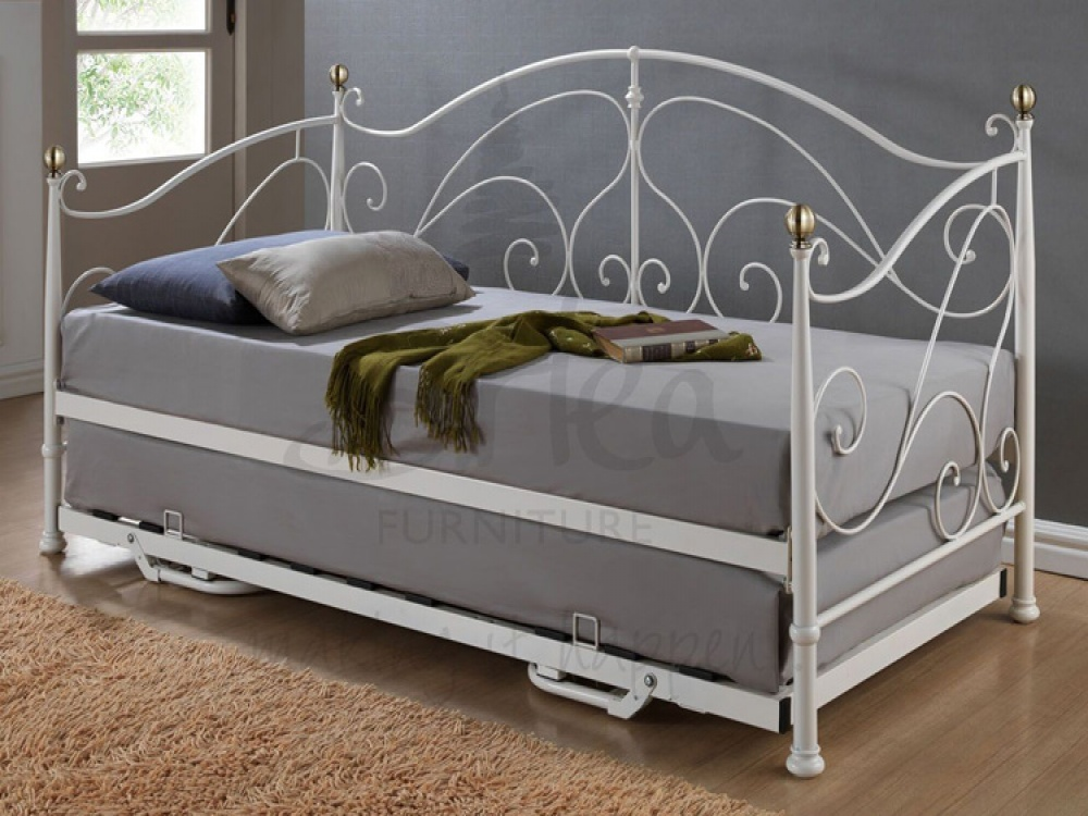 Milano Cream Metal Day Bed & Trundle