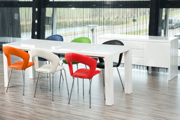 Frances White High Gloss Extending Dining Set with 6 Edna Chairs