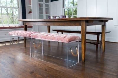Pair blush pink and copper hues with modern monochrome furniture for a contemporary style, or pair iridescent pink tones with natural wooden tones for a 'grown up ballerina' look.