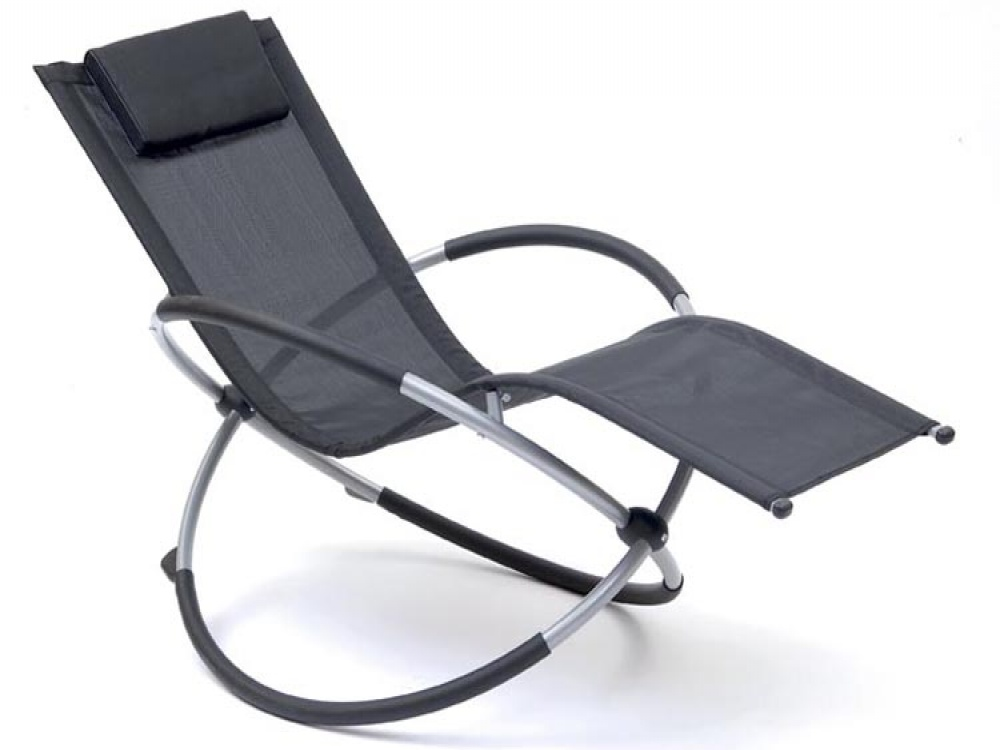 Space Black & Silver Orbit Rocking Sun Lounger