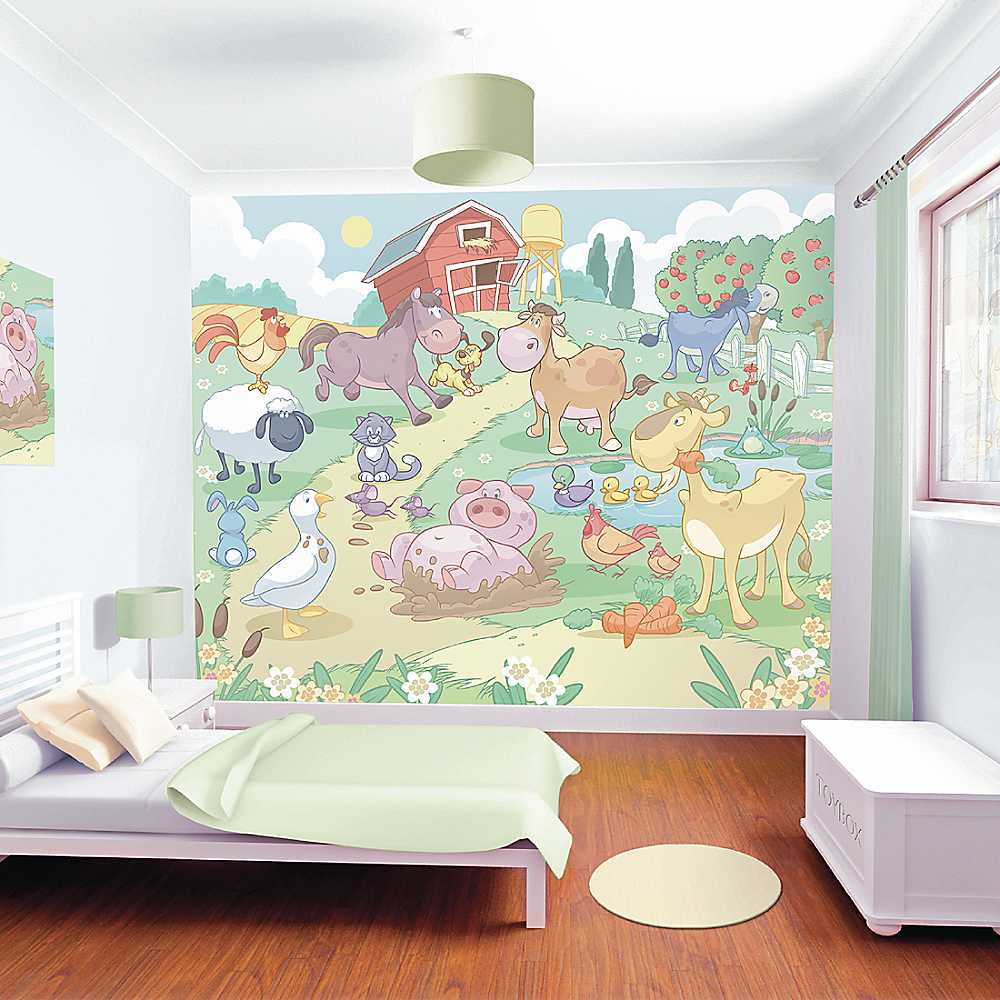 Baby Fun On The Farm Wallpaper Mural by Walltastic®