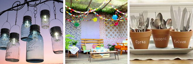 Left: Mason Jars hanging from trees.  Centre: bright Mexican fiesta theme. Right: Cutlery pots.  All found via Pinterest.