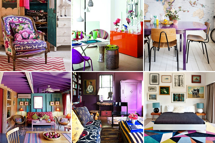eclectic purple interiors