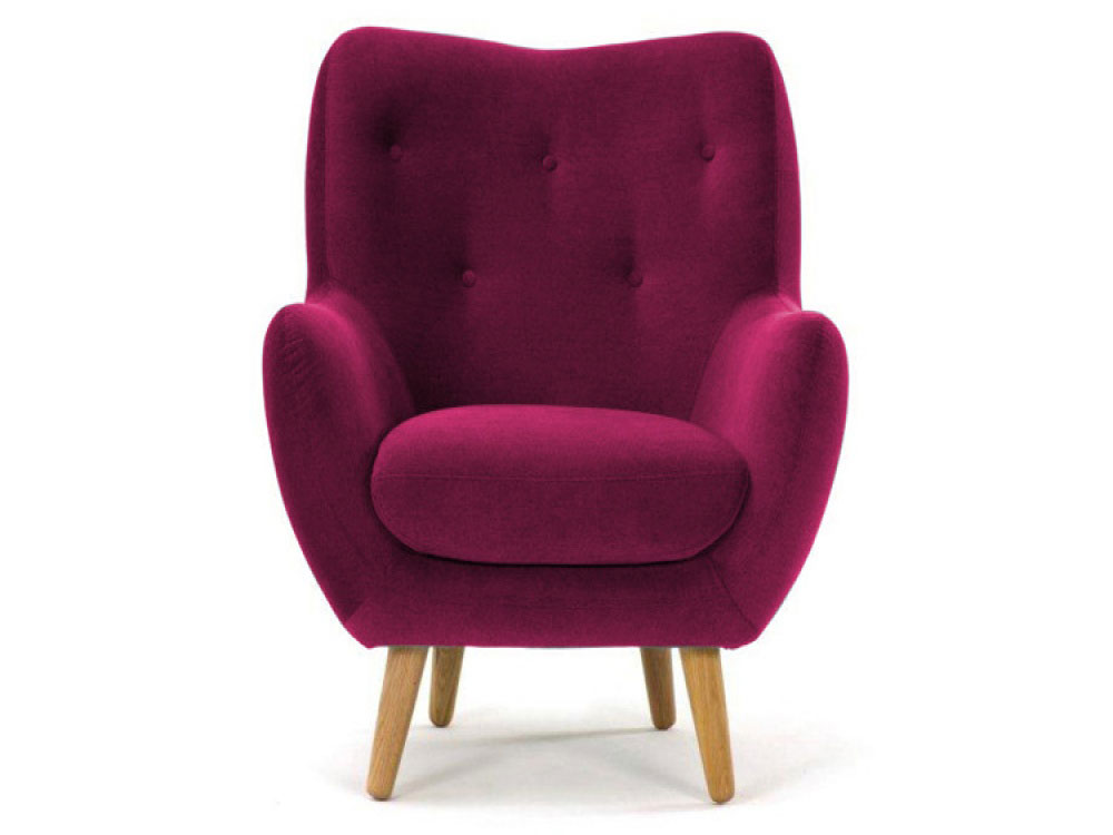Lilly Aubergine Fabric Armchair With Buttoned Back  Angled