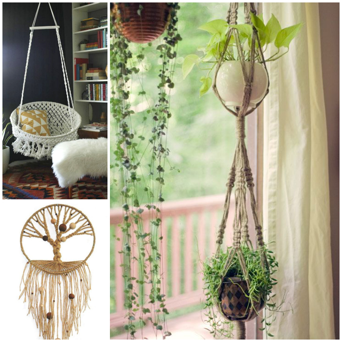 Macrame, which was big in the 1970s is back in trend now.  It's the perfect finishing touch to a bohemian style room
