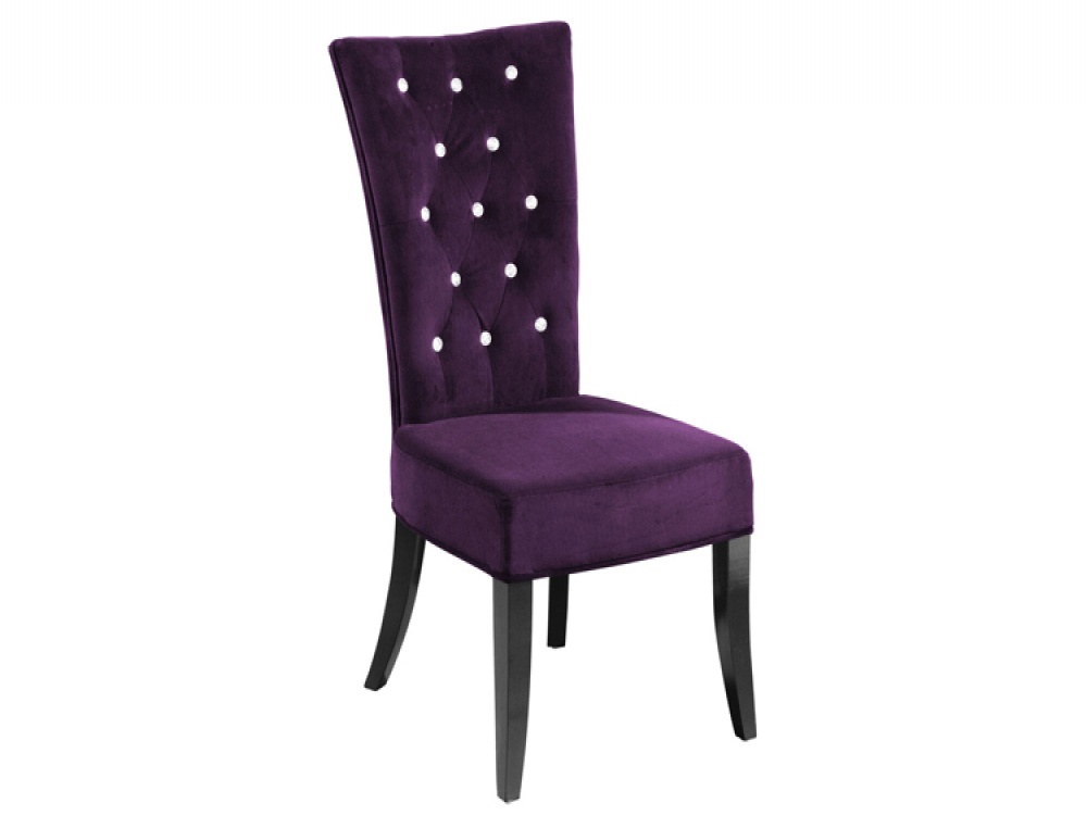 Radience Pair of Purple Velvet Diamante Dining Chairs