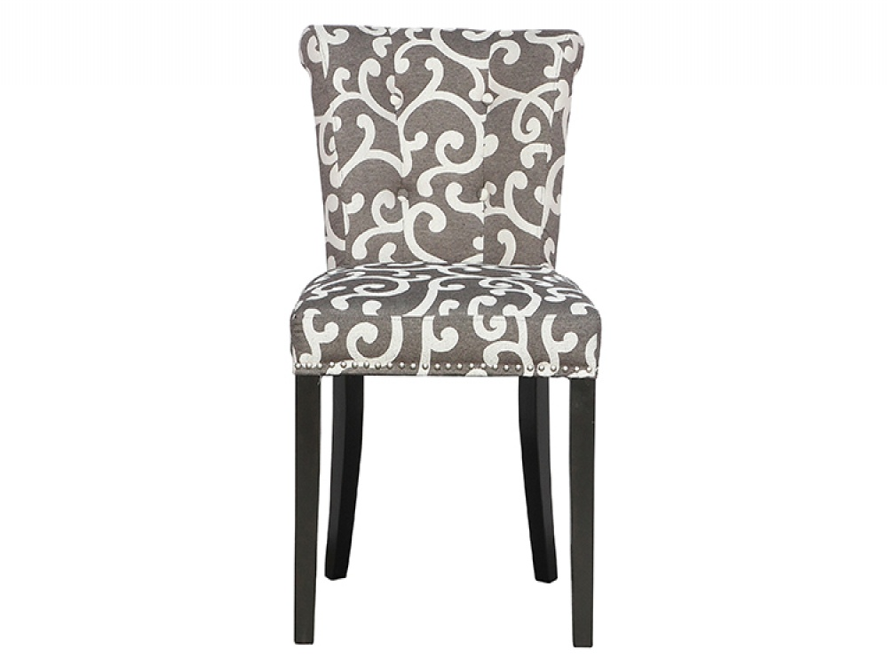 Sandringham Scroll Charcoal Fabric Chairs
