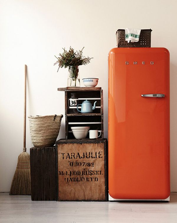 burnt orange fridge