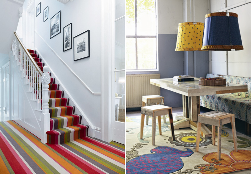 Step on it - colourful flooring and rugs. Credits: crucial-trading.com and kelary.com