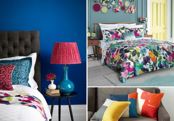 Accessorise with colour. Photo credits: bluebell grey.com, westelm.co.uk, pooky.com.