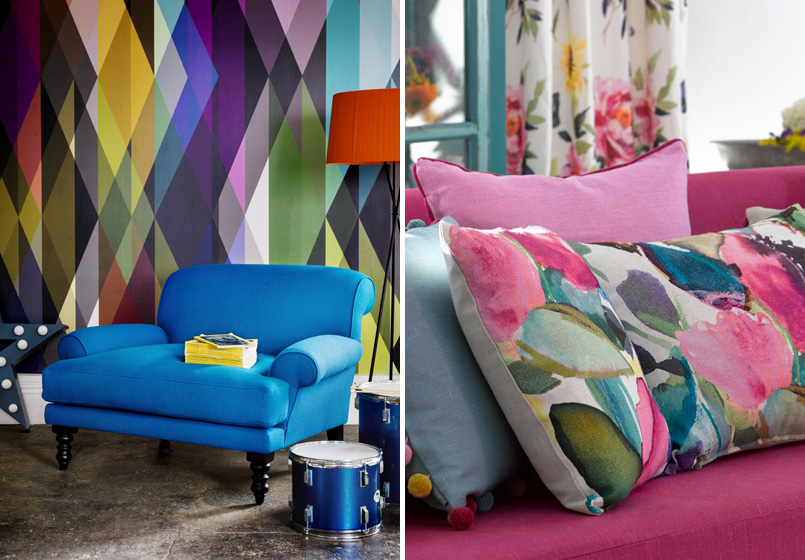 Living with colour inspiration. Credits: sofa.com and bluebellgrey.com