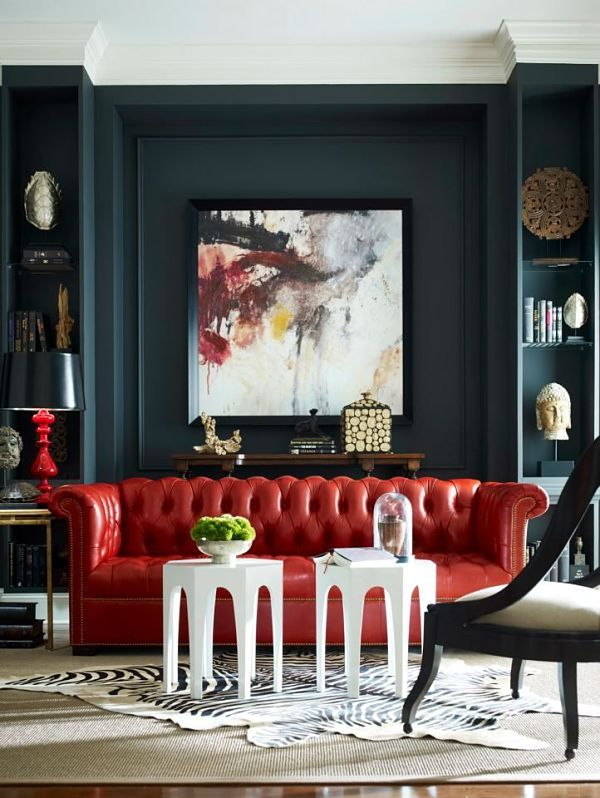 dramatic red sofa