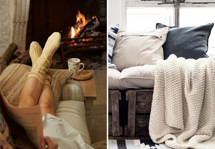 Tips for creating a cosy home this winter. Both images sourced via Pinterest. Credits: iolandapujol.tumblr.com and blog.lauraashley.com