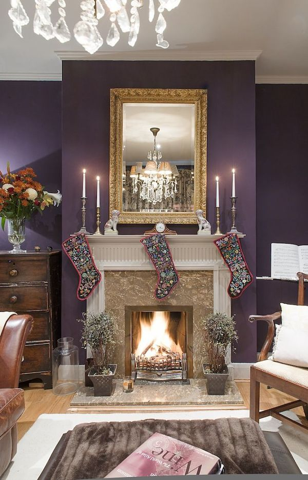 Purple fireplace