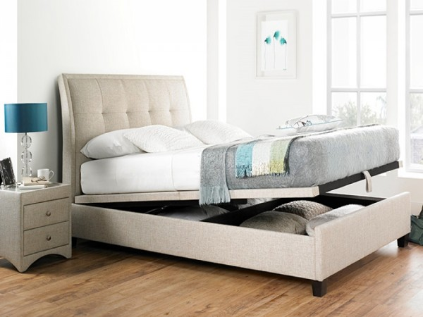 Accent Oatmeal Fabric Ottoman Bed