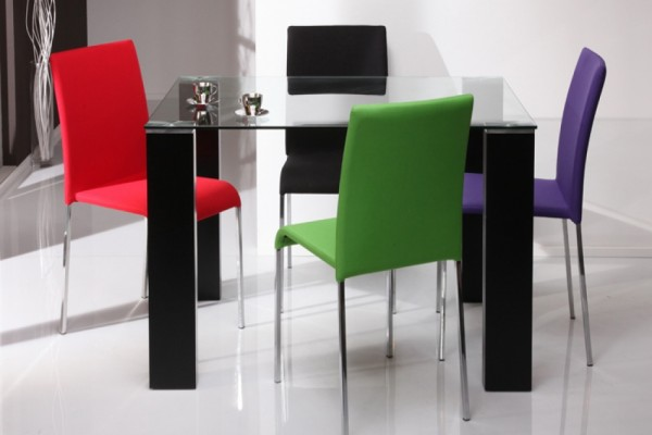 E-Spirit Clear Glass Dining Set with 4 Coloured Fabric Dining Chairs