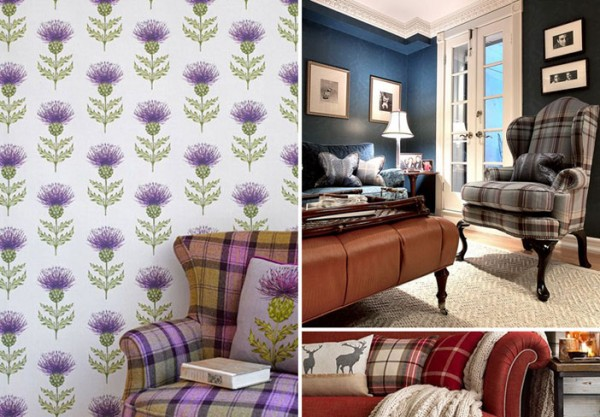 Tartan interior inspiration. Images sourced from Pinterest. Credits: hgtv.com, voyagedecoration.com and housetohome.co.uk