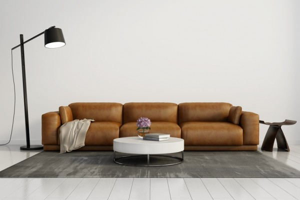 Contemporary elegant living room, leather sofa, white wood floor